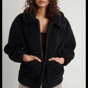 Garage Black Oversized Teddy Coat
